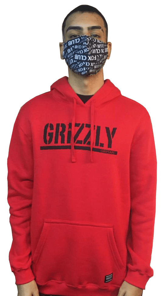 MOLETOM GRIZZLY CANGURU BLACK STAMPED VERMELHO