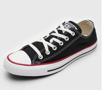 Tênis Converse All Star Chuck Taylor Low - Preto - Listra Vermelha